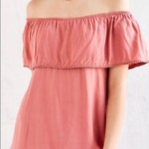 Motel Rocks Dresses - motel ruffle off the shoulder mini dress in blush